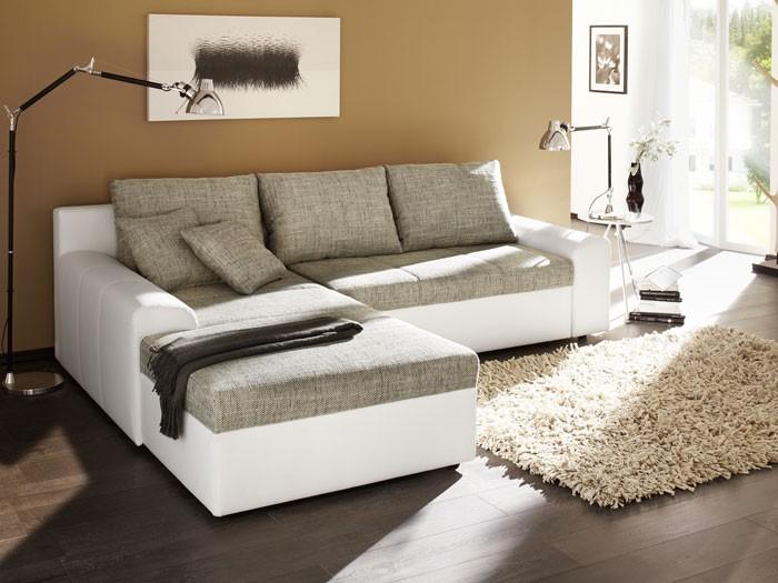 Eckcouch grau weiß  Ecksofa Sharon 250x193cm grau weiß Couch Sofa Schlafsofa ...